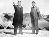 Painting of Kim Jong Il and Kim Il Sung  Pyongyang  Democratic People's Republic of Korea  N Korea