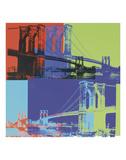 Brooklyn Bridge, 1983 (orange, blue, lime) Reproduction d'art par Andy Warhol