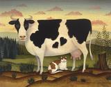 Vache et chat Reproduction d'art par Diane Ulmer Pedersen