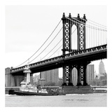 Manhattan Bridge with Tug Boat (b/w)