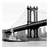 Manhattan Bridge with Tug Boat (b/w)