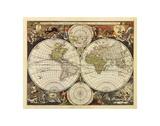 Nouvelle mappemonde, XVIIe siècle Reproduction d'art par Nicholas Visscher