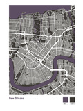 New Orleans Street Map in Black