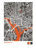Washington DC Street Map in Black