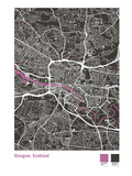 Glasgow Street Map in Black