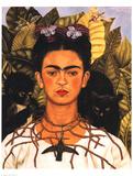 Portrait with Necklace Reproduction d'art par Frida Kahlo