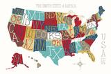 Colorful USA Map Reproduction d'art par Michael Mullan