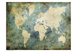 World Map Turquoise