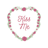 Valentines Floral Wreath Kiss Me
