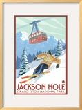 Wyoming Skier and Tram  Jackson Hole