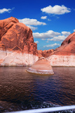 Walk on the Tourist Boat Red Sandstone Hills Surround the Lake Lake Powell on the Colorado River