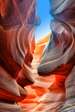 Sunlight Reflected off of the Red Rock Curves of the Antelope Canyon Slot Canyons in Page  Arizona