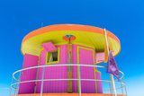 Pink Lifeguard House in Typical Architecture during Summer Day in Miami Beach  Florida  USA