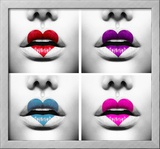 Fashion Abstract Collage Of Beauty Sexy Lips With Colorful Heart Shape Paint