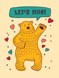 Bear with Sign Lets Hug and Hearts Greeting Card
