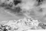 Black and White Snowy Mountains at Wind Day