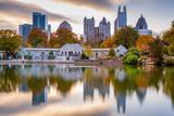 Atlanta  Georgia  USA Autumn Skyline from Piedmont Park