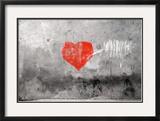 Red Heart Graffiti Over Grunge Cement Wall