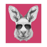 Portrait of Kangaroo with Sunglasses. Hand Drawn Illustration. Reproduction d'art par Victoria_novak
