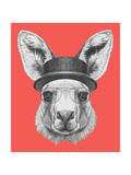 Portrait of Kangaroo with Hat and Glasses. Hand Drawn Illustration. Reproduction d'art par Victoria_novak