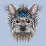 Illustrative Portrait of a Domestic Dog Cute Head of Yorkshire Terrier on Blue Background