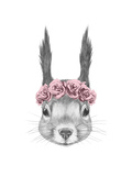 Portrait of Squirrel with Floral Head Wreath Hand Drawn Illustration