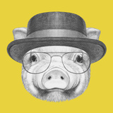 Portrait of Piggy with Gas Mask Hand Drawn Illustration