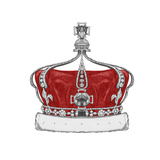 Original Drawing of Crown Isolated on White Background