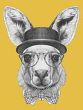 Portrait of Kangaroo with Hat  Glasses and Bow Tie Hand Drawn Illustration