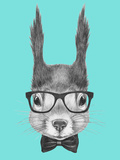 Portrait of Squirrel with Glasses and Bow Tie  Hand Drawn Illustration