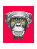 Original Drawing of Monkey with Glasses and Bow Tie Isolated on Colored Background