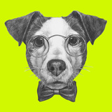 Original Drawing of Jack Russell with Glasses and Bow Tie Isolated on Colored Background