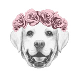 Portrait of Labrador Dog with Floral Head Wreath Hand Drawn Illustration