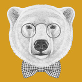 Portrait of Polar Bear with Glasses and Bow Tie Hand Drawn Illustration