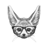 Original Drawing of Fennec Fox with Glasses Isolated on White Background