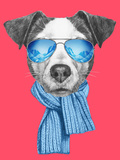 Portrait of Jack Russell Dog with Scarf and Sunglasses Hand Drawn Illustration