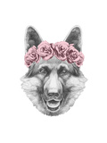 Portrait of German Shepherd with Floral Head Wreath Hand Drawn Illustration