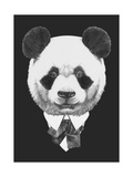 Portrait of Panda in Suit Hand Drawn Illustration