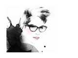 Woman Portrait with Glasses Abstract Watercolor Fashion Illustration