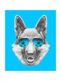 Portrait of German Shepherd with Mirror Sunglasses Hand Drawn Illustration