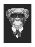 Portrait of Monkey in Suit Hand Drawn Illustration