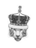 Original Drawing of Tiger with Crown Isolated on White Background