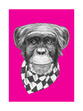 Original Drawing of Monkey with Scarf Isolated on Colored Background