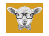 Portrait of Lamb with Glasses and Bow Tie Hand Drawn Illustration