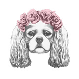 Portrait of Cavalier King Charles Spaniel with Floral Head Wreath Hand Drawn Illustration