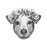 Original Drawing of Jack Russell with Floral Head Wreath Isolated on White Background