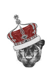 Portrait of Panther with Crown. Hand Drawn Illustration. Reproduction d'art par Victoria_novak