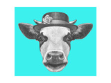 Portrait of Cow with Hat Hand Drawn Illustration