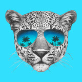 Original Drawing of Leopard with Mirror Sunglasses Isolated on Colored Background