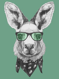 Portrait of Kangaroo with Glasses and Scarf Hand Drawn Illustration